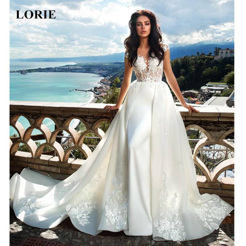 Lorie Lace Wedding Dresses 2019 Appliqued With Lace A Line: LORIE 2019 Vintage Wedding Dresses With Detachable Train