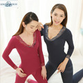 Brand New Section Warm Thermal Underwear Set Women suit Thermal Underwear Cueca Winter Women Lace Solid Wood Dyer Suit