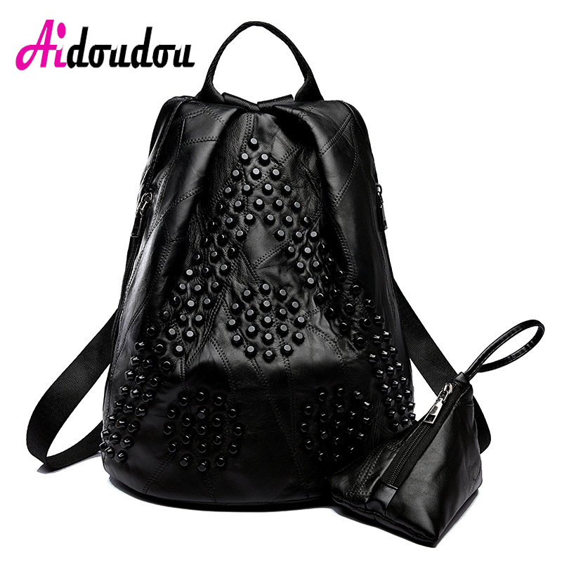 Women's Backpacks Sheepskin +PU Genuine Leather Rivet Backpack Women Leather Backpack For Teenage Notebook Backpack M2202AC real leather backpack 100% genuine leather women satchel cow leather patchwork backpacks schoolbag for teenage girls rivet bags