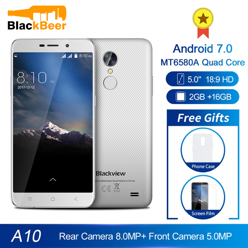 Blackview A10 5.0 Inch IPS HD Smartphone Quad Core MT6580A Android 7.0 Cellphone 2GB RAM 16GB ROM Mobile Phone 2800mAh WCDMA GSM