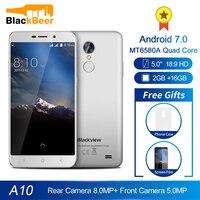 Blackview a10 5.0 Polegada ips hd smartphone quad core mt6580a android 7.0 celular 2 gb ram 16 gb rom telefone móvel 2800 mah wcdma gsm