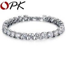 Opk aaa 0.75ct cubic zirconia imitado diamante tenis pulsera elegante estilo de regalo para la boda/compromiso/de cumpleaños, 928