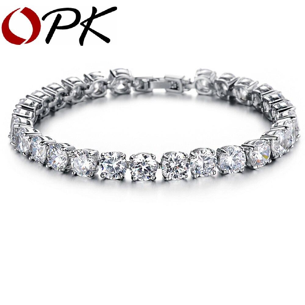 OPK AAA Cubic Zirconia Tennis Bracelet Elegant Style Gift for Wedding/ Engagement/ Birthday, 928 кольцо opk 316l aaa 3 gj447
