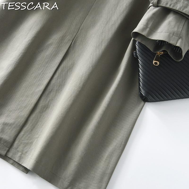 Femmes Office Mode Et Lady Manteaux Femme Coton Casual Green Longue Printemps Tesscara Automne Tranchée vent Pardessus Coupe Manteau q4xwPxt5