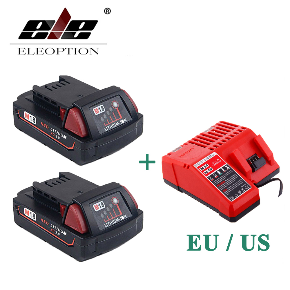 ELEOPTION 2PCS 2000mAh 18V Li-Ion Replacement Battery for Milwaukee M18 XC 48-11-1820 M18B2 M18B4 M18BX With One Charger replacement li ion battery charger power tools lithium ion battery charger for milwaukee m12 m18 electric screwdriver ac110 230v