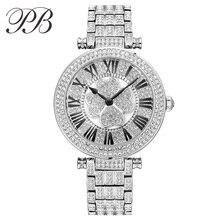 PB Señoras Vestido Reloj Superior de la Marca de Lujo de Cristal Austriaco Lucky Clover Mujeres Completa de Acero Inoxidable Relojes de Cuarzo relogio feminino