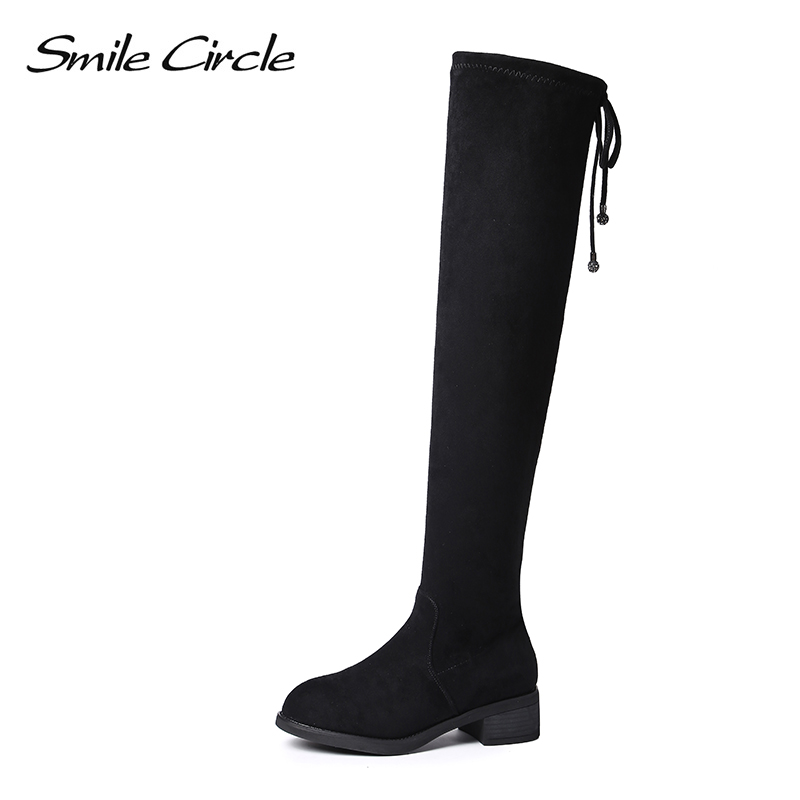 Smile Circle Sheep suede over the knee boots for Women Low heel thigh high long boots 2018 Autumn Elasticity Women Shoes luxury purple floral highland sheep suede boots cat out flower spring winter over the knee boots women brand shoes nancyjayjii