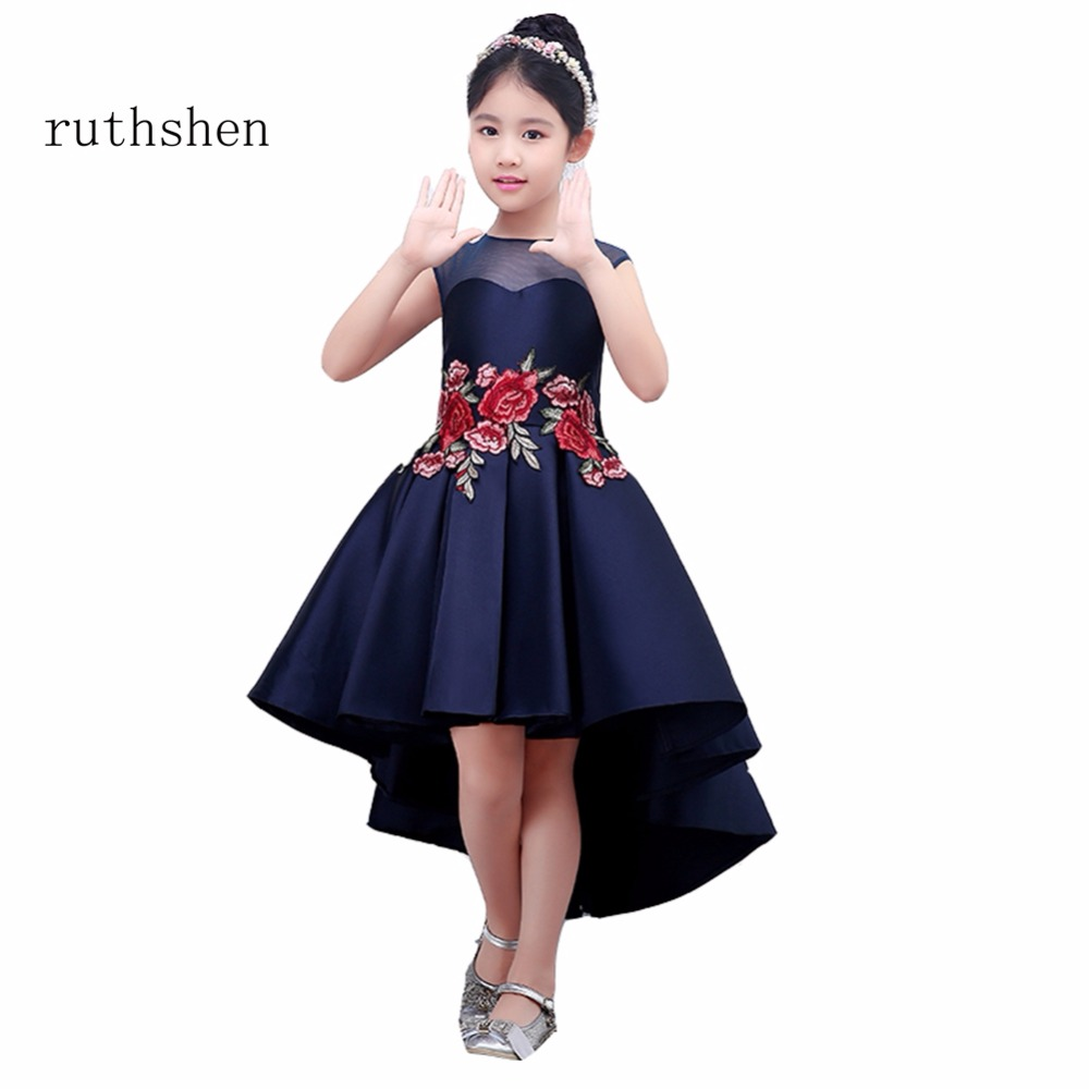 ruthshen Charming Princess   Flowers     Girl     Dresses   For Weddings With Rose Patterns Appliques Kids Ankle Length Pageant   Dress   2018