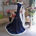 Новый Королевский Синий Зиму Искусственного Меха Отделкой Сохранить Теплые и Элегантные Свадебные Куртки Плащи Свадебный Wrap Настроить