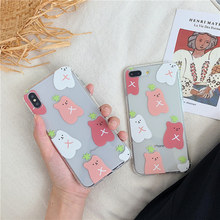 Dual layer Anti-knock transparent cover for iphone x xr xs max cute bear green grass cherry soft case for iphone 6 6s 8 7 plus x