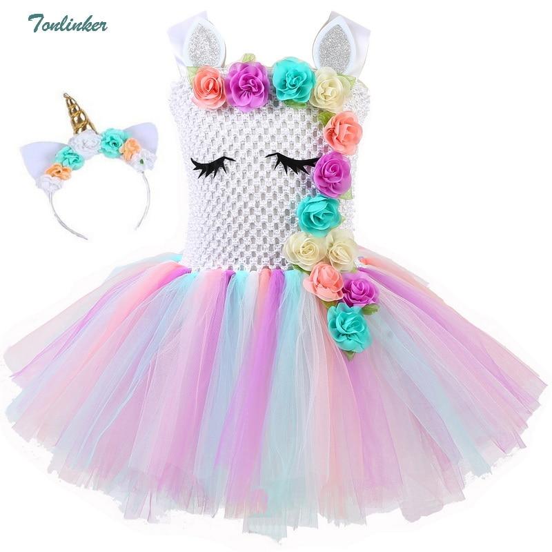 177 31 De Descuentoniñas Unicornio Flores Tutú Vestido Con Diadema De Algodón Forro Juego Cuerno Pelo Aro Conjunto Para Niños Cumpleaños Tema