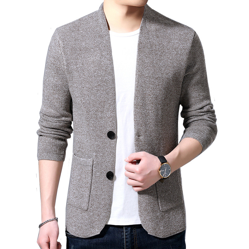 Sweater Cardigan Men's 2019 Spring And Autumn New Single-breasted Slim Wool Knit V-neck Cardigan Jacket High Quality