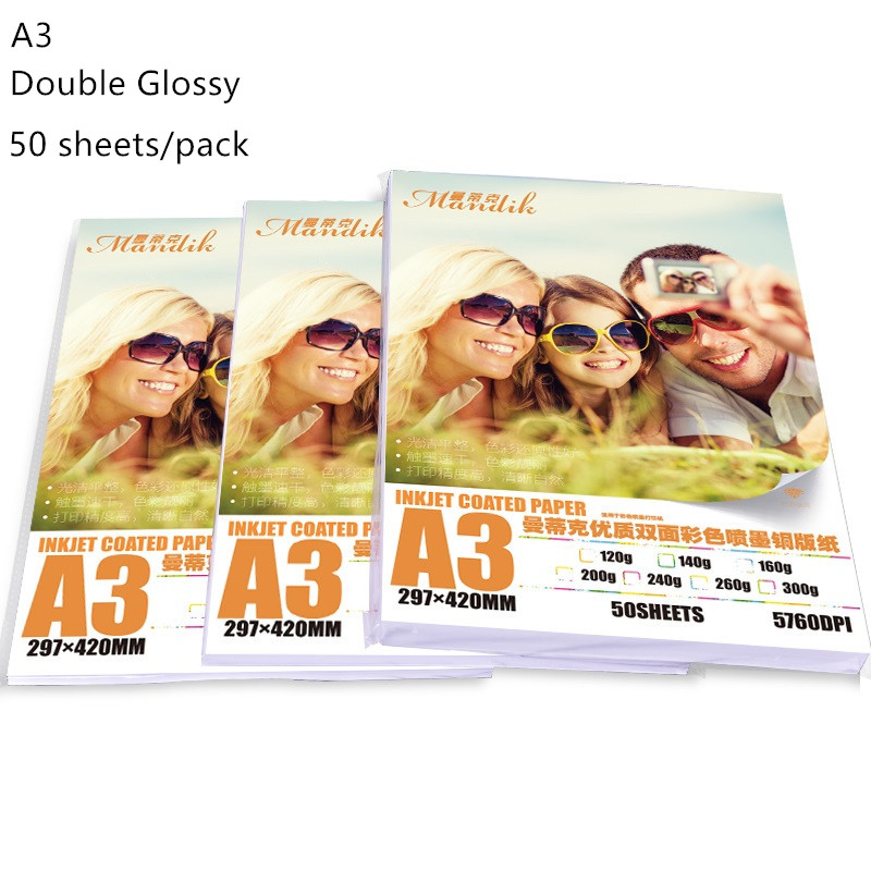 140g 160g 200g A3(420*297mm) 50 sheets double glossy photo paper wedding photo album pvc sheets 400pcs 260x260mm photo book pvc double side adhesive mounting sheets