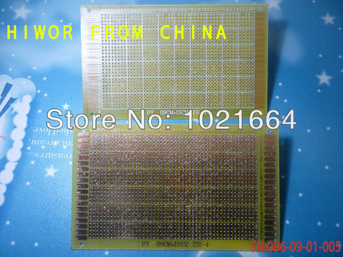 5pcs/lot Single Side Breadboad Size:9*15CM [3.54*5.91inch] 5 short holes pitch:2.54MM [0.1inch] Glass Fiber Universal Board ...