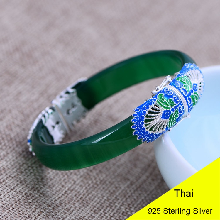 Fashion 925 Sterling Silver Fine Jewelry Green Chalcedony Bangle & Bracelet with Buckle Thai Silver Jewelry Gift CH049131 5pcs fashion 925 sterling silver fine jewelry bangle