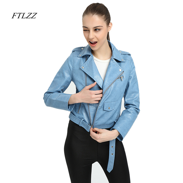 Ftlzz Faux Leather Jacket Women Pink Punk Fashion Biker Coat Slim PU Leather Jacket Soft Motorcycle Jacket