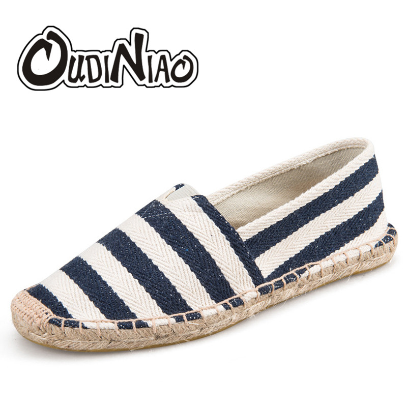 OUDINIAO Mens Espadrilles Men Patchwork Slip On Summer Shoes Men Loafers 2018 Breathable Canvas Men Shoes Fashion Jute Wrapped
