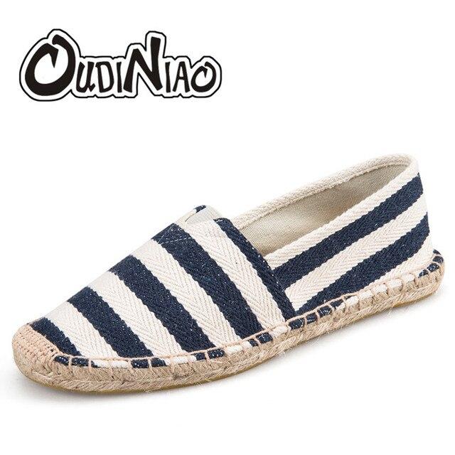 Oudiniao Mens Espadrilles Men Patchwork Slip On Summer Shoes Men