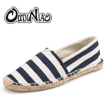 OUDINIAO Mens Espadrilles Men Patchwork Slip On Summer Shoes Men Loafers 2019 Breathable Canvas Men Shoes Fashion Jute Wrapped