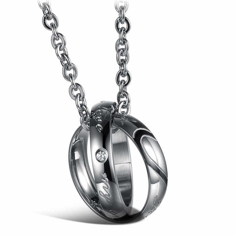 ZORCVENS pół serca Puzzle para naszyjniki romantyczny czarny/złoty kolor ze stali nierdzewnej kobiety mężczyźni wisiorek – biżuteria