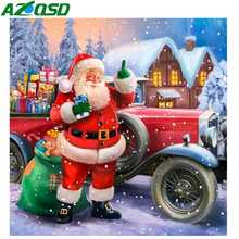 AZQSD Diamond Painting Santa Full Square Embroidery Display Christmas Decorations For Home Mosaic Gift
