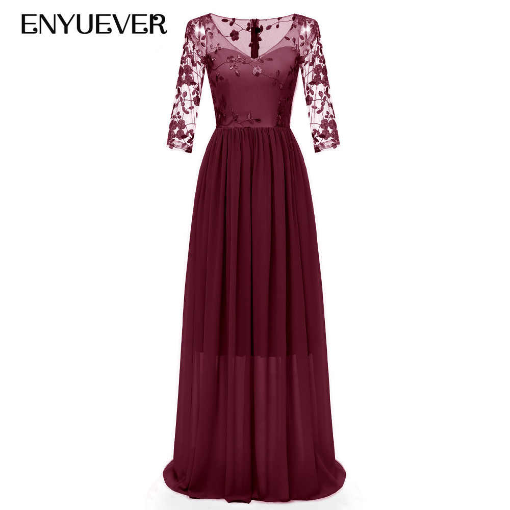 482c37b0c21bc Enyuever Formal Dress Womens 2019 Sleeve Embroidery Lace Chiffon Runway  Elegant Vestido Beach Maxi Long Wedding Party Dress