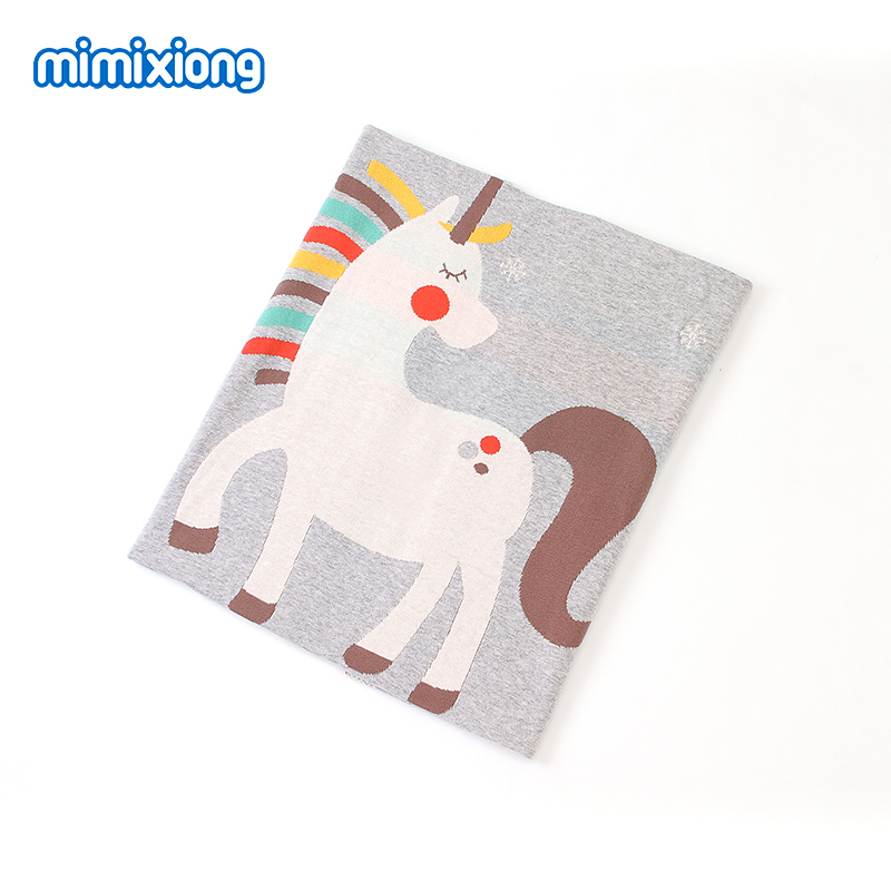 Baby Blankets Funny Unicorn Knitted Newborn Milestone Swaddle Sleepsack 100*80cm Children Playing Mat Toddler Stroller Bed Cover