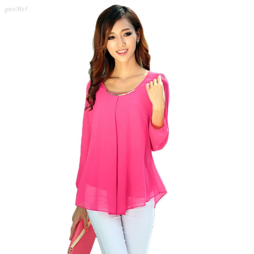 e3e3c287d5 Nueva Mujer blusa señoras casual manga larga Camisa de gasa más tamaño Tops  Blusas para las mujeres 59x1