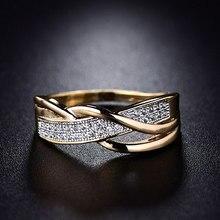 Tamanho 6 7 8 9 10 presentes noivado, alta qualidade, presente do dia dos namorados, anéis, cristal dourado, 1 peça, venda quente cruz marítima