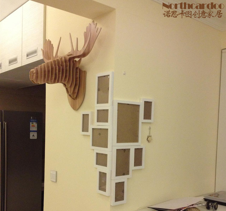 Carved 3D wood moose head for Europe style home decor,DIY creative ...
