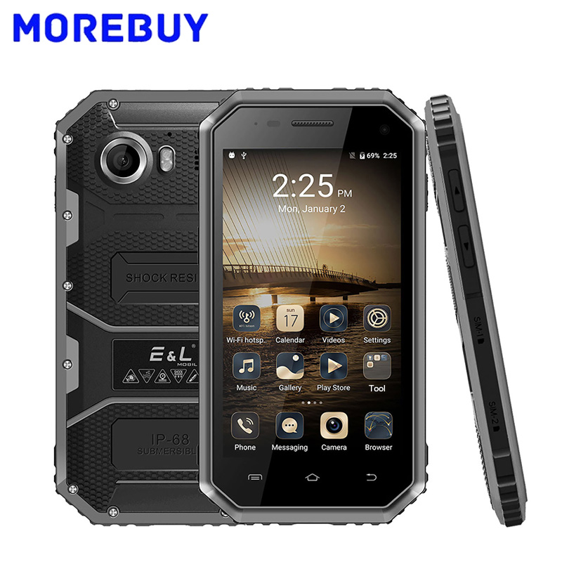 E L W6 4G Mobile Phone IP68 Waterproof Shockproof Android 6 0 MTK6735 Quad Core Smartphone