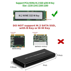 Image 2 - PCIE NVMe USB3.1 корпус для жесткого диска M.2 на USB 3,1 Тип C M ключ SSD корпус для жесткого диска чехол для внешнего жесткого диска чехол/PCIE чехол для твердотельного диска