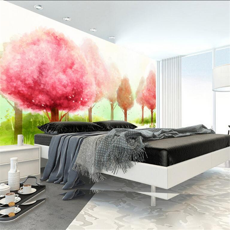 3d Wallpaper Hand Painted Pink Woods Custom Photo Wall Mural Minimalist Embossed Non-Woven for Study Living Room Kid's Room beibehang non woven pink love printed wallpaper roll striped design wall paper for kid room girls minimalist home decoration