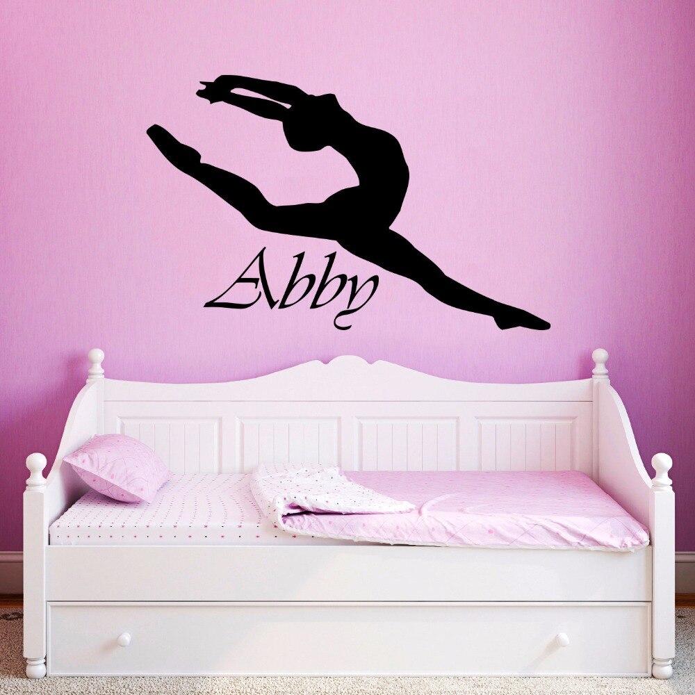 Vinyl Wall Sticker Custom Personalized Girls Name Decor Ballerina Acrobatics Ballet Dancer