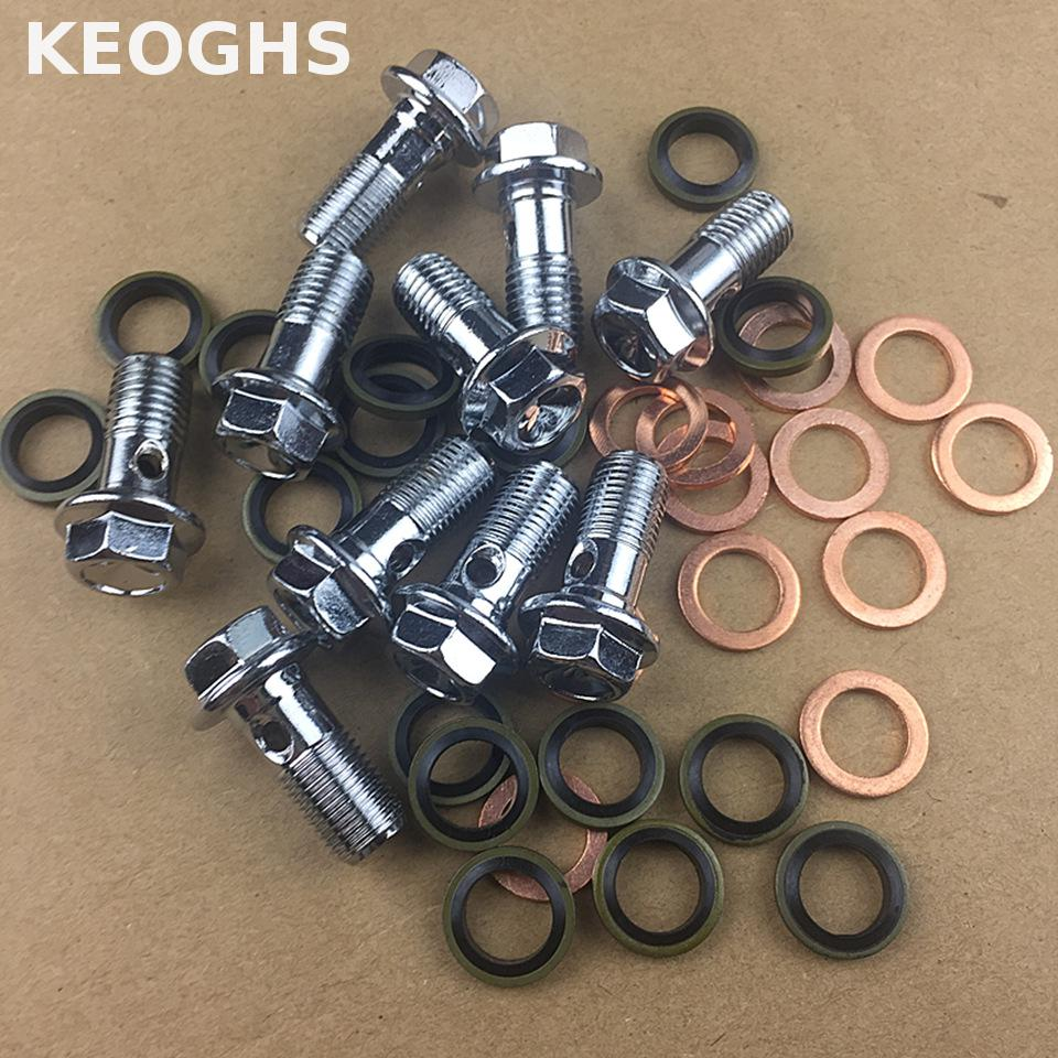 KEOGHS Motorcycle Brake Caliper banjo bolt Oil Drain Screw/Hollow Screw 1.25mm 1mm 10mm For Brake hose Caliper Master Cylinder keoghs motorcycle brake caliper banjo bolt 2 hole 1mm 10mm 1 25mm 10mm with air out screw tc4 titanium material for honda yamaha