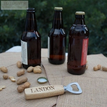 Customized Engraved Wood Beer Bottle Opener Advertising promotion Personalized name Groomsmen