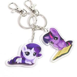 Image 4 - New 5.5cm My Little Pony Toys Charm Twilight Sparkle Rainbow Dash Fluttershy Pendant Key Holder Pony Keychain Party Supplies