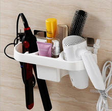 Multi-Functional Plastic Bathroom Wall-Mounted Sucker Hair Dryer Storage Rack Holder Shelf Organizer Accessories