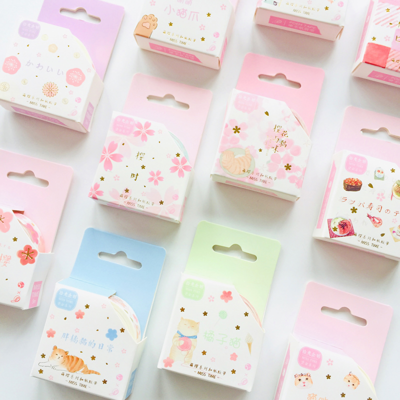 1 Roll 1.5cm*5m Spring Sakura Cats Masking Tape Album Scrapbooking Decor Paper Washi Tape Stick Label
