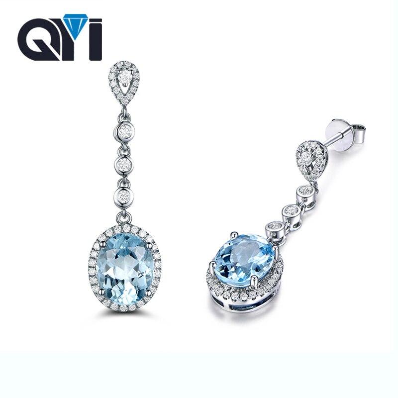 QYI naturel bleu ciel topaze pierres précieuses boucles d'oreilles pour les femmes 1.5 ct taille ovale 925 argent Sterling Dangle boucles d'oreilles cadeau d'anniversaire