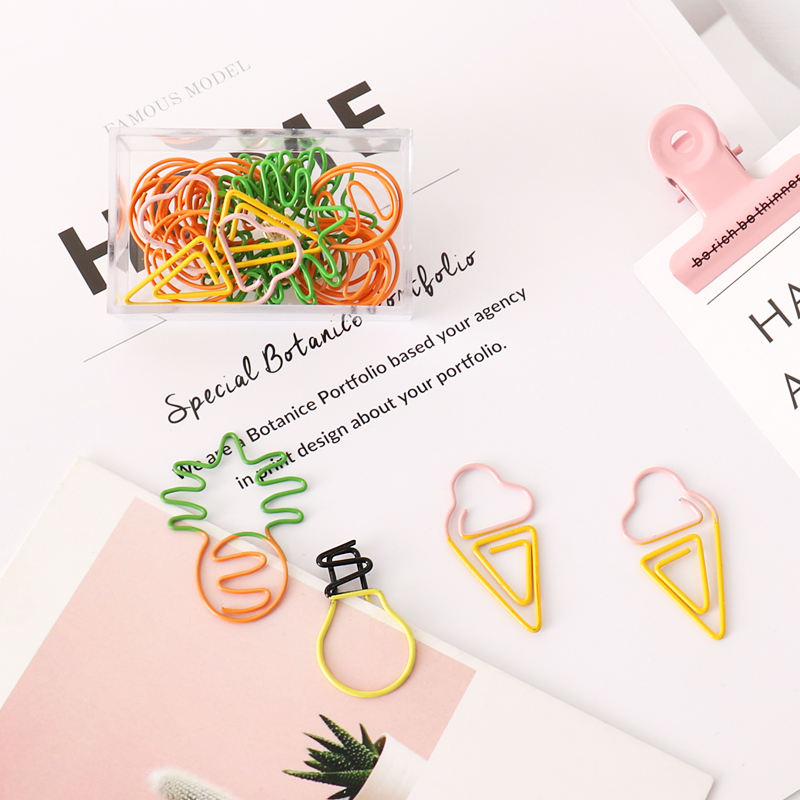 Double Color Clip Pineapple Cute Shape Decorative PaperClip Paper Clips Decorative Kawaii Stationery Office Paper Clips Metal
