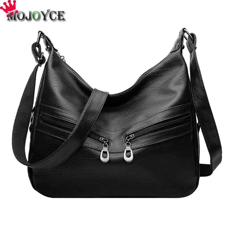 MOJOYCE Vintage Female Bag Women Hobos Handbags Zipper Soft PU Leather Shoulder Crossbody Bag Office Ladies Bag Solid Color Tote 1