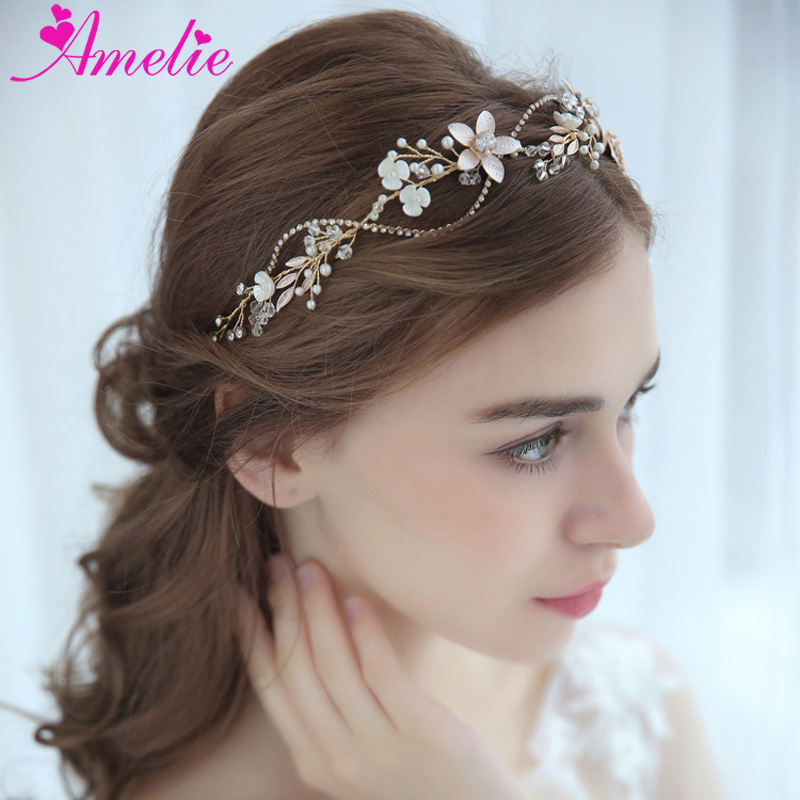 Bridal Headbands Rhinestone Chain Enchanted Floral Delicate Crystal