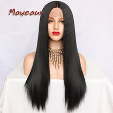 Maycaur Black Color Synthetic Lace Front Wigs Long Straight Hair Heat Resistant Fiber Glueless Yaki Straight Hair for Women(China)