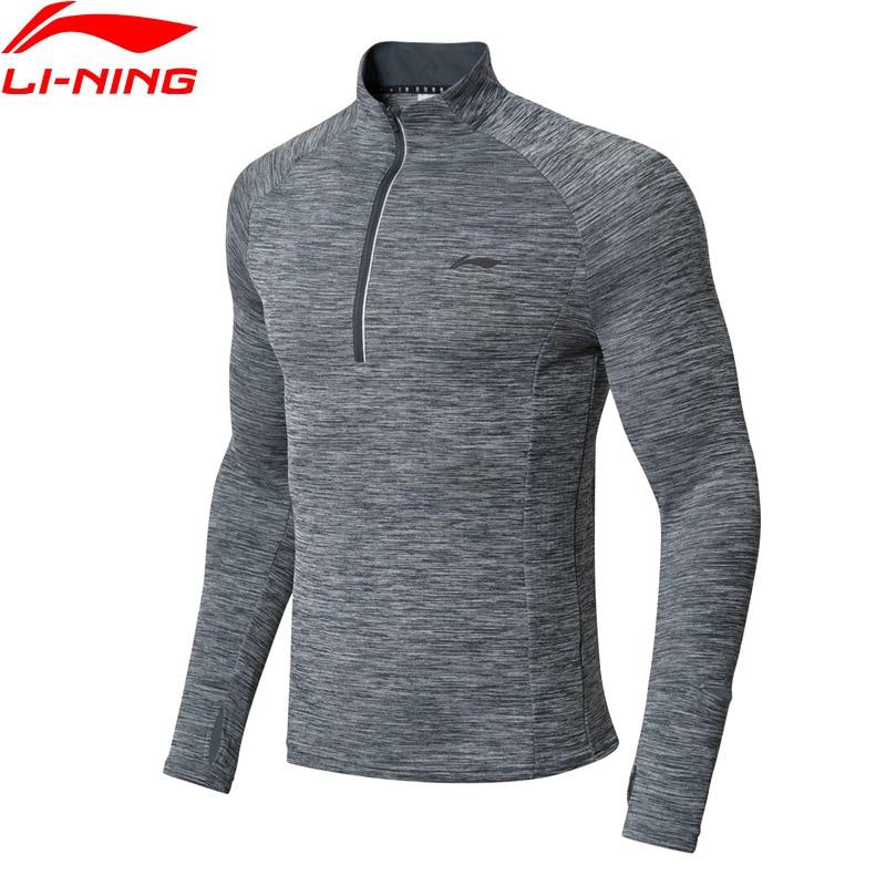 Li-Ning Men Running Series Long Sleeve T-Shirt Slim Fit WARM SHELL 95% Polyester 5% Spandex LiNing Sports Tops ATLN147 MTL997