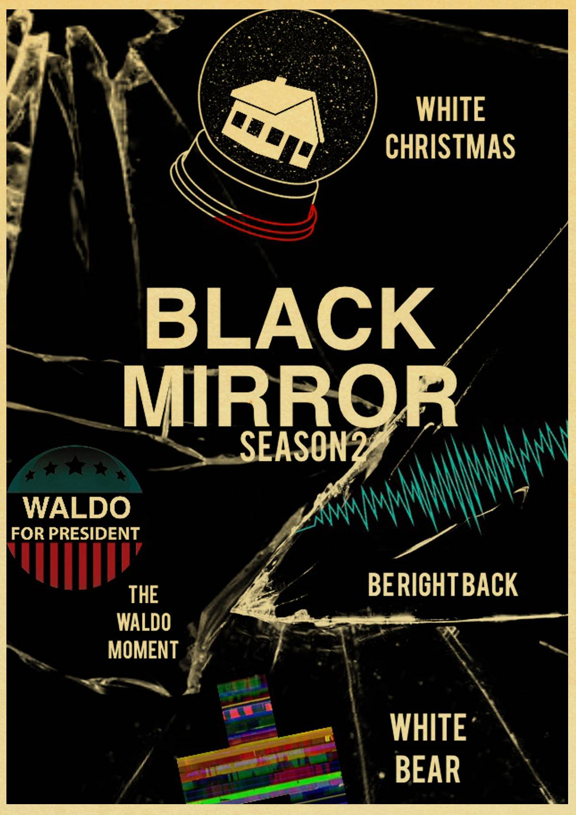 White Christmas Black Mirror Poster.Us 1 79 15 Off Tv Series Black Mirror Poster High Quality Kraft Paper Print Painting Retro Poster Home Wall Art Wall Sticker In Wall Stickers From