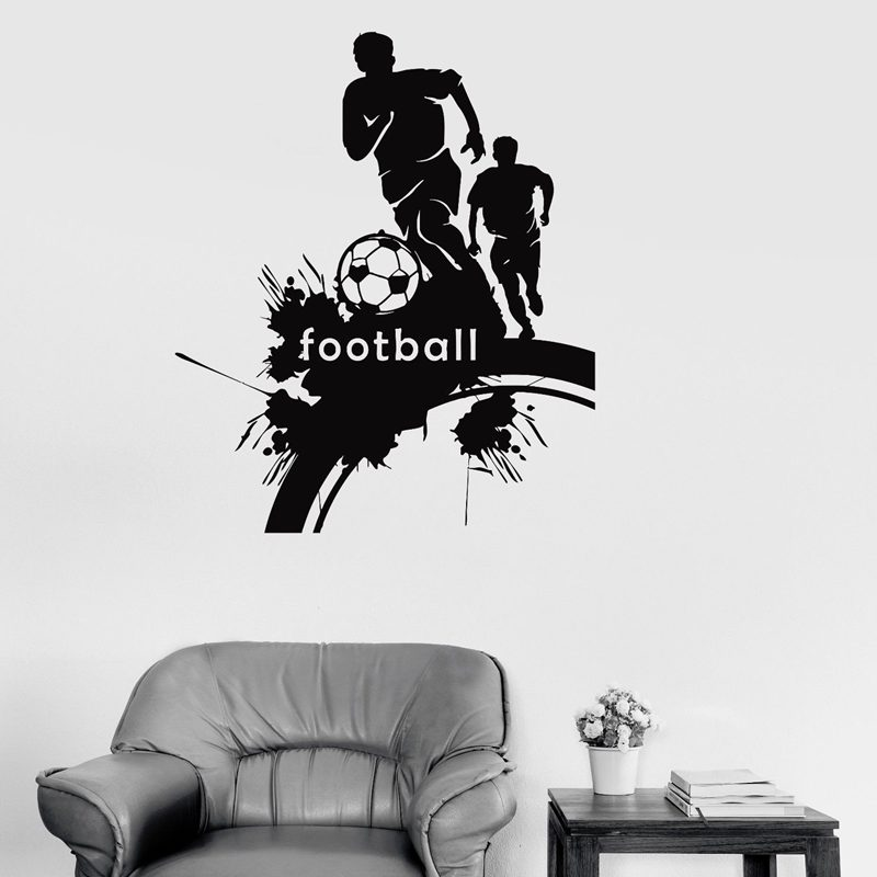 Football Player Sticker Sports Soccer Decal Helmets Kids Room Name Posters Vinyl Wall De ...