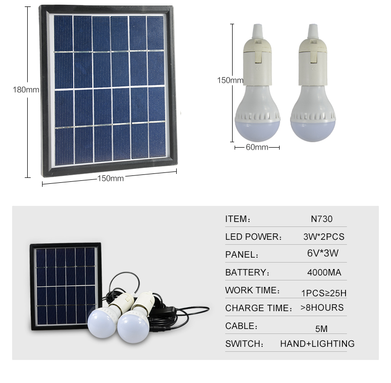 New Portable Solar Home Lighting System Led Bulb with Pv Panels with ...