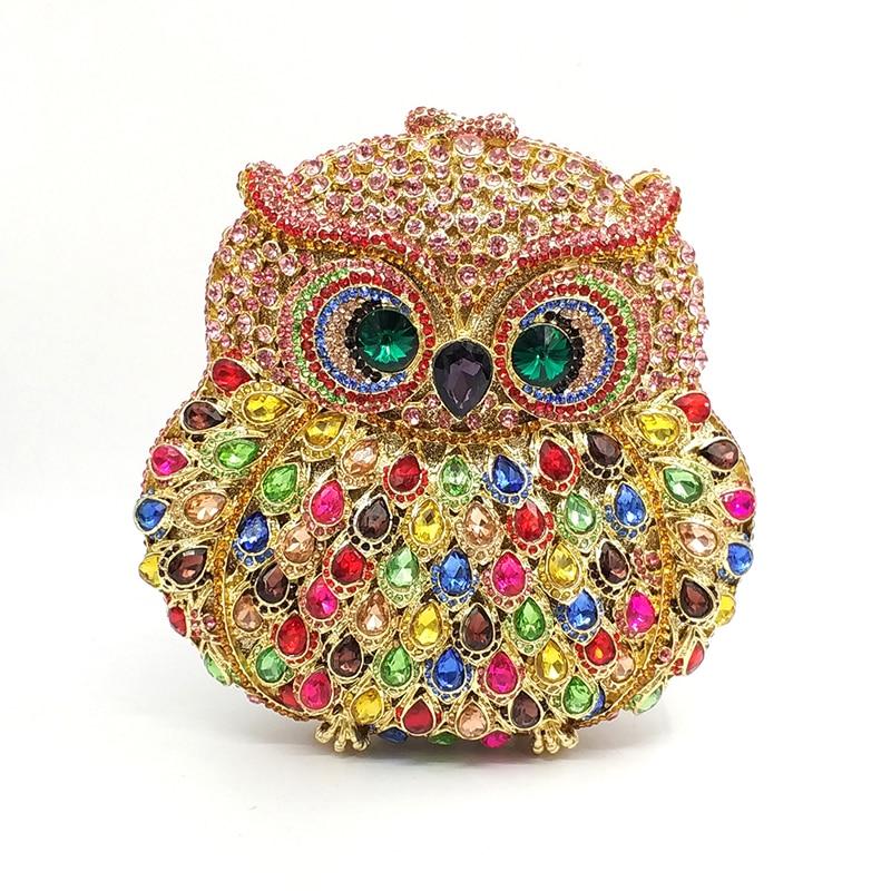 Projektowanie mody sprzęgła kobiet wieczór torebka imprezowa diamenty sowa ptak kształt kryształ torebki ślubne wesele kryształowe sprzęgła w Torby z uchwytem od Bagaże i torby na  Grupa 3