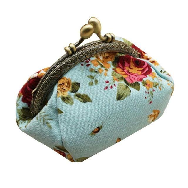 Naivety Coin Purse Women Lady Retro Vintage Flower Small Wallet Hasp Printing Floral Clutch Bag Good Gift JUL28 drop shipping 2